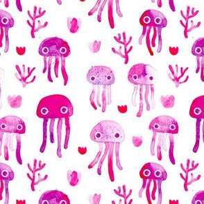 watercolor under water ocean life jelly fish and coral squid pink white