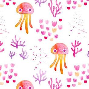 watercolor under water ocean life jelly fish and coral squid pink orange white