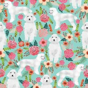 poodle mint cute florals vintage floral standard poodle fabric cute poodle fabric white poodle design sweet poodles