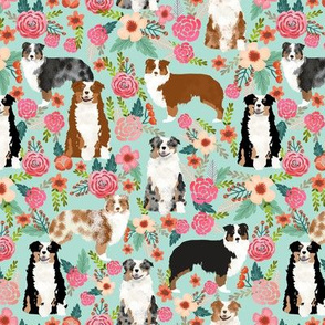 aussie florals cute mint australian shepherd dogs fabric cute vintage flowers aussie dog flowers