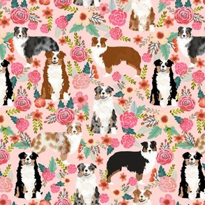 australian shepherds pink florals fabric pastel pinks fabric cute aussie dog fabrics best aussie dog fabric florals vintage les fleurs fabric