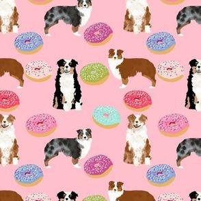 australian shepherds pink dog fabric cute donuts  fabric sweets pink  aussie dog cute dog design dog patterns cute