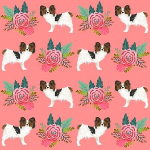 papillon coral flowers les fleurs fabric cute dog breed fabric cute dogs fabric papillons dogs fabric