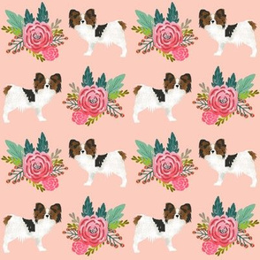 papillon dog florals cute blush dogs fabric best papillon gift for dog owner sweet papillons fabric