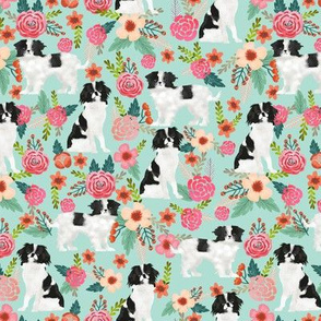 japanese chin dog japanese spaniel cute florals les fleurs fabric mint dog fabric with flowers cute dog design japanese lap dog toy breed fabric