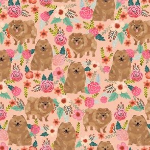pomeranian dog fabric cute peach color fabric pom dog fabric pom pom toy breed dog fabric sweet spitz dog fabric