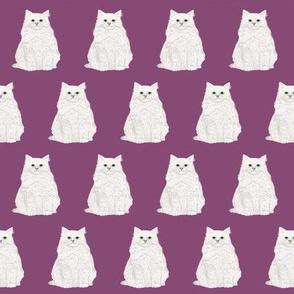white cat fabric purple cats fabric cute white fluffy cat fabric sweet cat design adorable cats cute cat lady fabric