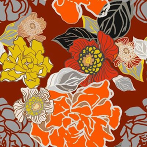 Fall floral on rust