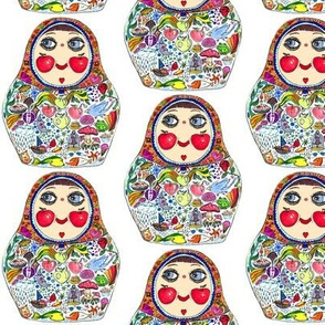 Cheeks Like Apples Matryoshka doll, white background, small scale