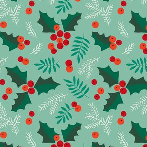 Christmas holly and berries on mint