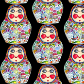 Cheeks Like Apples Matryoshka doll, black background, small scale