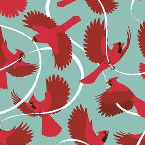 Cardinals on Blue