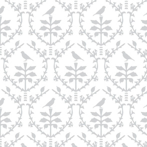 Bird Damask in White/Silver grey -Larger size