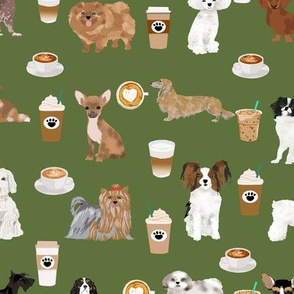 dogs coffee green cute latte cafe coffees best coffee fabric dogs dog breed fabrics