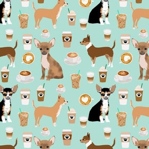chihuahua dogs fabric cute mint coffee fabric best chihuahuas dog fabric