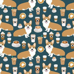 corgi and coffees fabric cute corgi dog fabric coffee cafe latte fabrics cute coffee psl fabrics