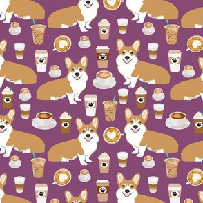 corgi coffee purple fabric cute coffee fabrics cafe latte corgis fabric cute coffee fabrics best latte fabric