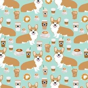 corgis and coffee mint latte fabric cute cafe fabric coffee fabrics cute mint cafe latte fabrics