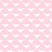 Bird Floral Pink and White