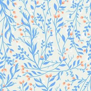 Tangled Blue Vine Peach Blossom C101B