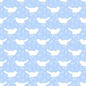 Bird Floral Periwinkle Blue and White