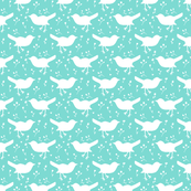 Bird Floral Turquoise and White