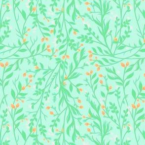 Tangled Mint Green Orange Flowers A101