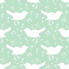 Bird White Light Green Floral