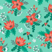 Vintage Christmas Holiday Flowers Floral on Mint Green