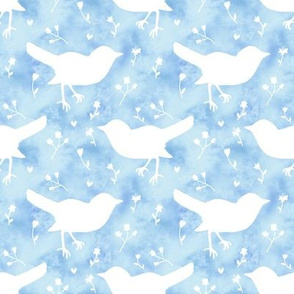 Bird Floral on Clouds White and Blue