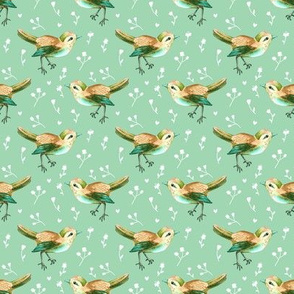 Bird Russet and Green Floral