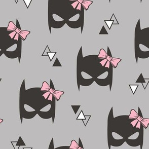 Girly Geometric Plain Black Bat Mask with Pink Bow on Grey