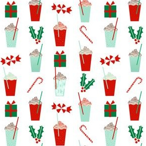 christmas holiday xmas peppermint latte red and green christmas fabric cute girls latte christmas coffees