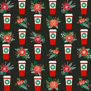 christmas coffees red cups flowers florals cute girls coffee fabric