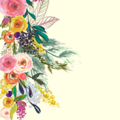 Autumn Blooms Painted Floral Border // Cream
