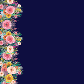 Autumn Painted Blooms Floral Watercolor Border (Extra Large) // Navy