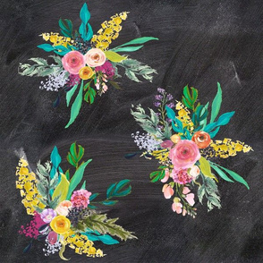 Autumn Painted Blooms with Chalkboard Background