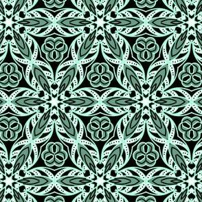 Temari kaleidoscope mint and black