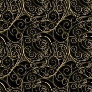 Project 51 | Zentangle Filigree Swirls | Gold on Black