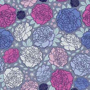 Midnight Garden | Bold | Pink & Denim Blue