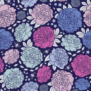 Midnight Garden | Bold | Pink & Navy