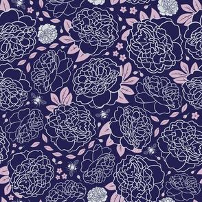 Midnight Garden | Bold | Dark Navy & Pink