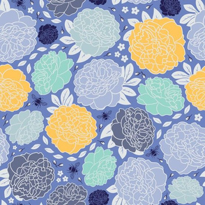 Midnight Garden | Bold | Gold & Bright Blue
