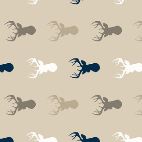 Deer - navy/tan/brown/taupe- woodland 90 degree-ch