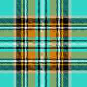 Stewart plaid in Turquoise, Mustard + Orange by Su_G