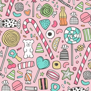 Candy Sweets Sugar Junk Food Black & White Multi Colour on Pink
