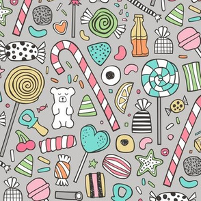 Candy Sweets Sugar Junk Food Black & White Multi Colour on Grey