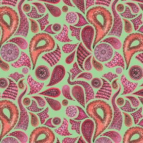 Watercolour Red Paisley Design