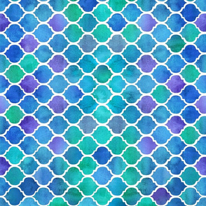 Horizontal Blue Green Watercolor Textured Moroccan