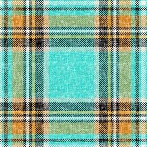 Cooler Stewart plaid in Turquoise, Mustard + Orange Linen-weave by Su_G